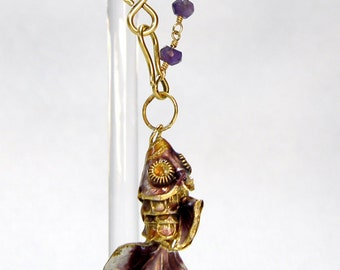 Amethyst and Gold Wire Wrapped Rosary Chain with Cloisonne Koi Fish