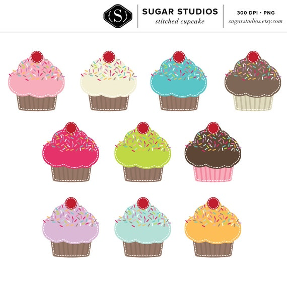Cupcakes Digital Clipart - 10 Pieces for Personal & Commercial Use - INSTANT DOWNLOAD