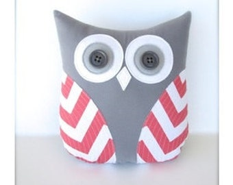 Coral owl, coral pillow, coral and gray nursery decor, accent pillow, coral chevron pillow, gift under 40 by whimsysweetwhimsy