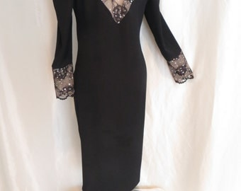 Vintage 70s womens black cocktail dress, lace rhinestone long sleeve, plus size L XL, sexy holiday fancy party evening dress