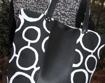 Canvas and Black Faux Leather Tote Geometric Print