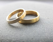 Wedding Ring Set: 18ct Yellow Gold Wedding Band Set, 3mm x 1.3mm Womens Ring, 4mm x 1.3mm Mens, Brushed Finish, Custom Sizes