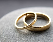 Wedding Ring Set: 18ct Yellow Gold Wedding Band Set, 2mm Womens Ring, 4mm Mens Ring, Polished Finish, Made To Order