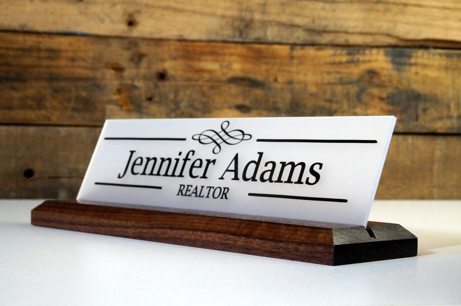 Name Plate: Desk Sign And Acrylic Name Plate: Personalized Wood