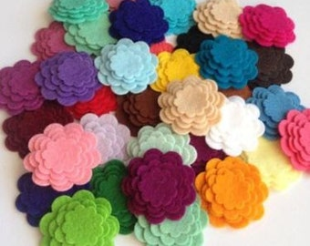 x16 WOOL Felt die cut flowers, 45 COLOURS, Scalloped Layered Flowers, Felt shapes, 4 different sizes, Scallop Circle Flowers