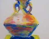 Ancient Vessel Decorative Pastel Pottery Sketch Egyptian Jug Original Art by Niki Hilsabeck