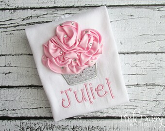 Birthday Shirt. Pink & Silver 3D Cupcake Personalized Embroidered Birthday Shirt/Bodysuit with Rhinestones.