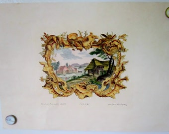Antique Art Printed in Italy Pastorial Countryside Scene Late 1800's Art Print Ready to frame Thick Art Paper