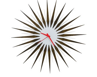 Midcentury Modern Starburst Clock 'Walnut/White Atomic Era Clock' Colorful Wood/Acrylic Contemporary Wall Clock, Inspired by George Nelson