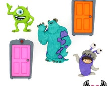 DISNEY MONSTERS INC Boo, Mike Wazowski & Sulley  Dress It Up Licensed Jesse James Buttons Or Turn them into Flatback Cabochons
