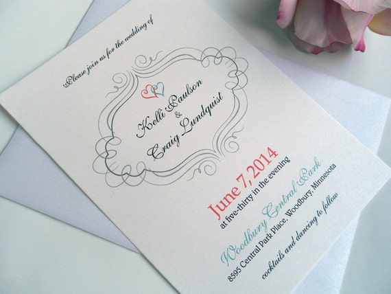 Navy And Peach Wedding Invitations: Wedding Invitations Invites Announcements RSVP Cards Postcards