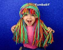 Clown Wig- Halloween Costume - Clown Costumes - Mardi Gras - Colorful Hair