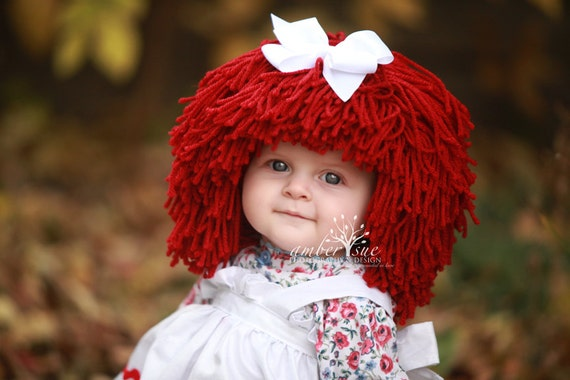 Raggedy Ann Wig Yarn Hat- Available in all sizes