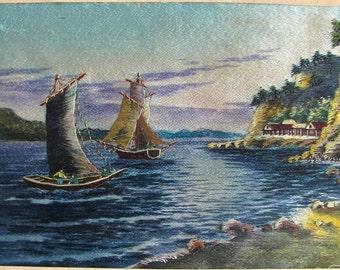 Asian Silk Embroidered Seascape, Fishing Boats, Handmade, Stitchery, Ocean, Beach Scenes, Wall Decor