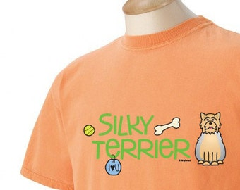 Silky Terrier Doodle Garment Dyed Cotton T-shirt
