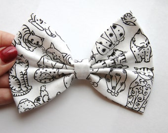 Cats Hair Bow - White & Black Cats Pattern Hair Bow with Clip