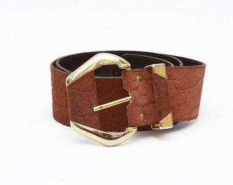 Vintage designer waist leather belt with golden buckle / Sandra Cellini