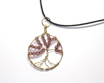 Tree of life pendant with dark purple bicones, gold toned wire wrapped, wire crystal bead tree pendant