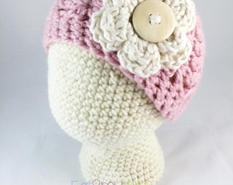 Antique Rose & Cream Soft *Pretty in Pink*  Hat - Infant - Toddler - Child - Adult Sizes