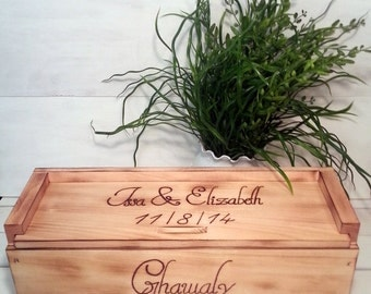 Wedding Wine Box for Rustic Wedding Personalized
