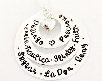 Personalized Trio of Stacked Sterling Silver Washers with Sterling Puffy Heart - Custom Necklace - Names or Personalization of Your Choice