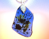 Necklace_SEA GLASS & pressed FLOWERS from my Garden! ~ Exclusive to Nature and Whimsy~ very special-FreeShipping  32.00