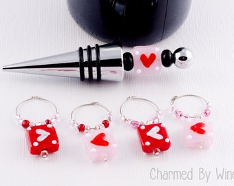 Wine Bottle Stopper Set; Beaded Wine Stopper and Charms, Valentine's Day, Anniversary Gift, Hearts, Love