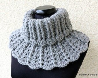 CROCHET Neck Warmer PATTERN, Chunky Crochet Scarf, Easy DIY Crafts Gift For Her, Instant Digital Download Lyubava Crochet Pdf Pattern No.155