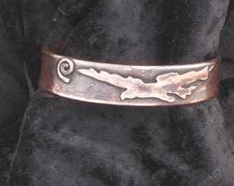 """Bracelet Cuff Eagle/Spiral Sun , recycled copper,Small size (5-1/2"""")"""