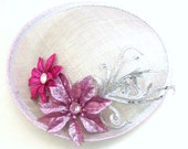 Silver Fascinator - Kentucky Derby Fascinator -  Handmade Fascinator  - Flower Tea Party Hat