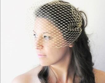 Gold Veil, Gold Birdcage Veil, Gold Bandeau Veil, Silver Veil, Wedding Veil, Bridal Veil, Bride's Veil, Silver Bandeau Veil, Metallic Gold