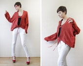 Rust red slouchy cropped cutout cardigan sweater