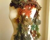 Flower scarf - Brick