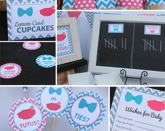 Ties or Tutus Gender Reveal Party Decorations blue pink Karter GR56 Printable - Instant Download
