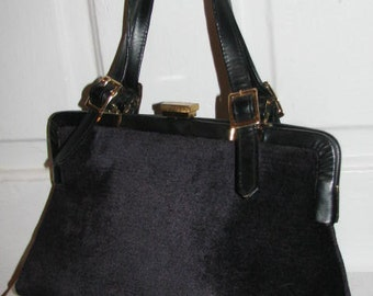 MEYER'S Black CARPET HANDBAG // 50's Estate 60's Hipster Retro Black Gold Buckles Double Strap Purse Ladies Who Lunch