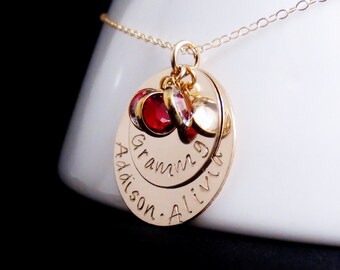 Personalized Layered Gold Name Birthstone Disc Necklace, Grandma Mom Aunt, Handstamped Kids Names, Graduation Day Gift Present