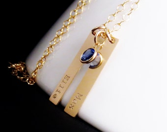 Personalized Gold Bars Necklace , Twin Names Necklace, Gold Bar Birthstone Jewelry, Vertical, Mommy Necklace