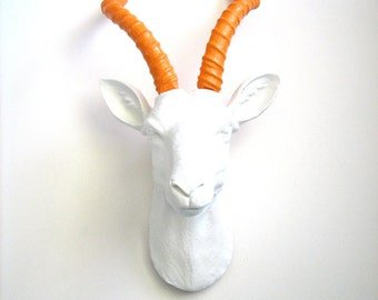 Faux Taxidermy Antelope Head wall mount hanging home decor:  Anya the Antelope in white with orange horns office decor kids room animal head