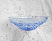 Vintage Blue Glass Bowl / Cut Class / Blue Depression Glass Bowl / Small  Serving Bowl or Medium sized Candy Dish