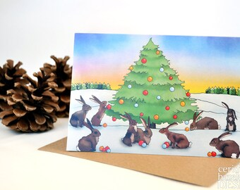 Christmas Bunny Rabbits Card