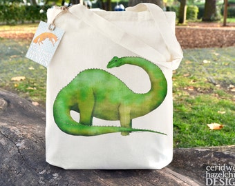 Diplodocus Dinosaur Tote Bag, Ethically Produced Reusable Shopper Bag, Cotton Tote, Shopping Bag, Eco Tote Bag