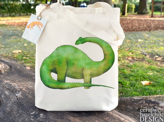 Diplodocus Dinosaur Fair Trade Tote Bag, Reusable Shopper Bag, Cotton Tote, Shopping Bag, Eco Tote Bag