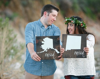 Engagement & Wedding State Sign SET - Hand Painted Wood Signs, Photo Props, Wedding Decor, Home State Signs