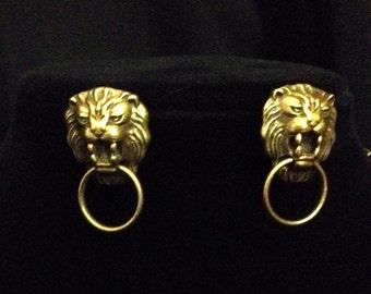 Lion doorknocker bronze necklace and earrings set