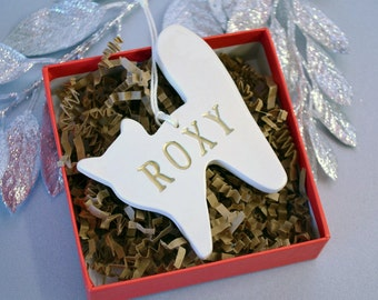 Personalized Cat Christmas Ornament with Name - Gift Boxed