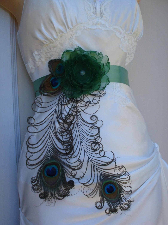 Peacock wedding bridal sash or belt peacock and flower for Peacock wedding dress sash