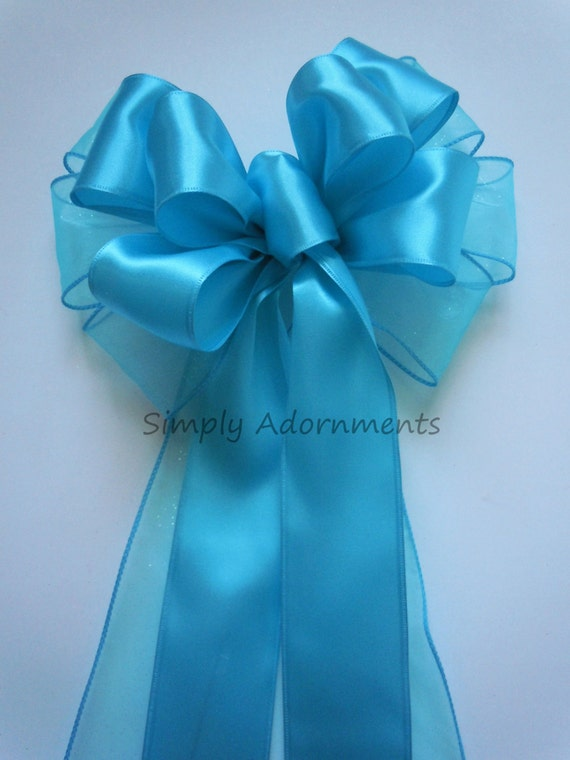 Sea Blue Wedding Pew Bow Turquoise Blue Bridal Shower Party Decor Church Pew Decor Turquoise Birthday Party Shower Handmade Gifts Bow