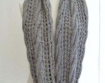 KNITTING PATTERN Infinity Scarf  with Cable Lace Easy Beginner Pattern for Chunky Scarf Instant Digital Download PDF