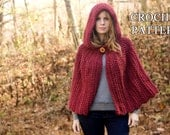 CROCHET PATTERN Hooded Cape Pattern, Crochet Cloak Pattern, Red Riding Hood Capelet, Instant Download