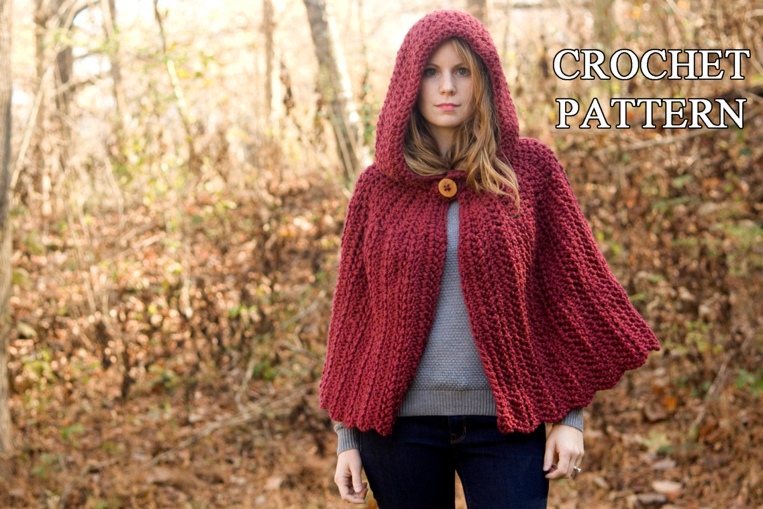 Knitting Pattern Cape With Hood : CROCHET PATTERN Hooded Cape Pattern Crochet Cloak Pattern